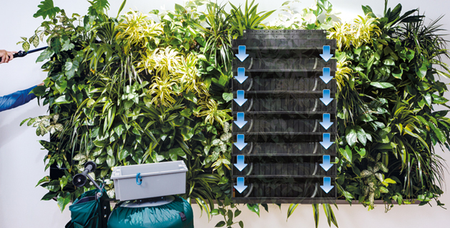 Living Green Wall Vertical Plant Trays Sub Irrigation Automatic Watering